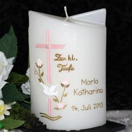 Taufkerze Marla mit Kreuz und Blüamli
