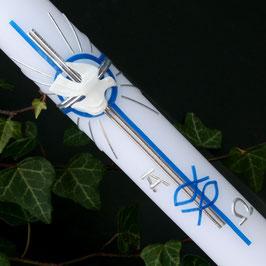 Taufkerze Jaron in blau, mit Kreuz, Art. 01.149