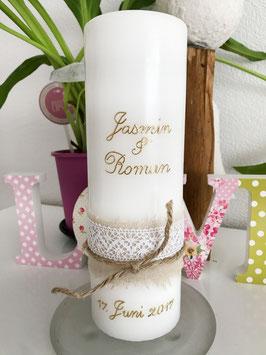 Hochzeitskerze Jasmin mit Leinen und Spitze