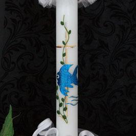 Taufkerze Robin mit Fisch, Art. 01.097