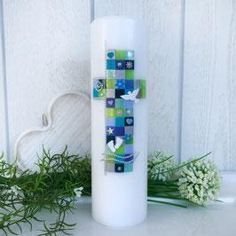 Taufkerze mit Mosaik-Kreuz