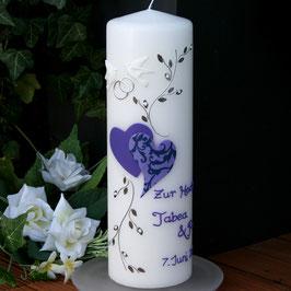 Hochzeitskerze Mariella mit Herzen/Perlen