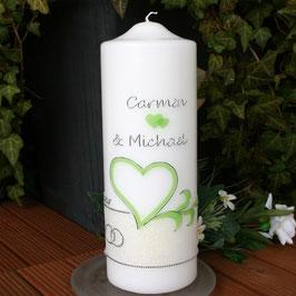 Hochzeitskerze Marina mit Herz/Ornament