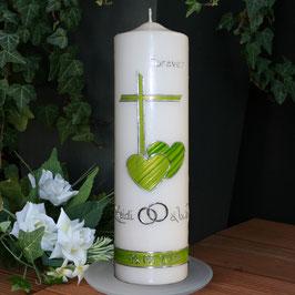Hochzeitskerze mit Kreuz/Herzen in grün