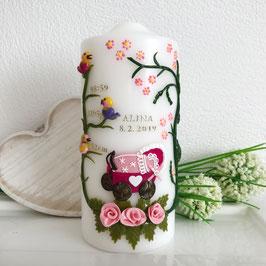 Kerze zur Geburt in rosa