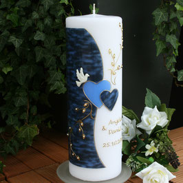Hochzeitskerze Angela in blau mit Herzen