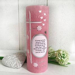 Taufkerze, Raureifkerze in rosa mit Spruch/Foto