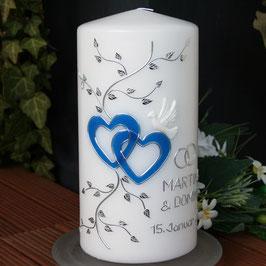 Hochzeitskerze Martina mit Herzen in blau