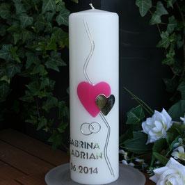 Hochzeitskerze Svenia mit Herzen