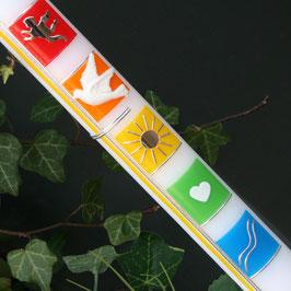Taufkerze Felicita mit Kreuz, in Regenbogen-Farben, Art. 01.166