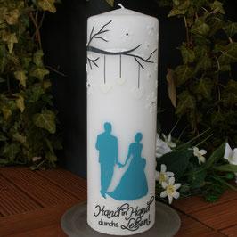 Hochzeitskerze mit Paar/Schneeflocken