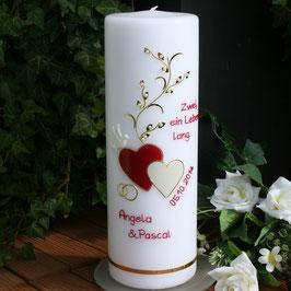 Hochzeitskerze Angelika in weinrot/gold mit Herzen