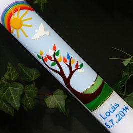 Taufkerze mit Baum/Regenbogen, Art. 01.084