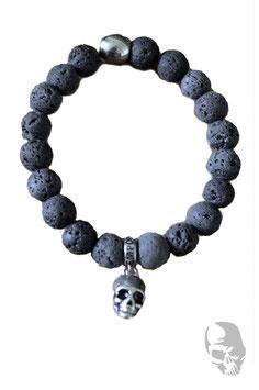 """Armband """"Lavasteinoptik"""" mit Skull"""