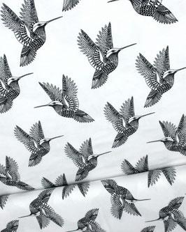 Viskosejersey weiß mit Kolibris