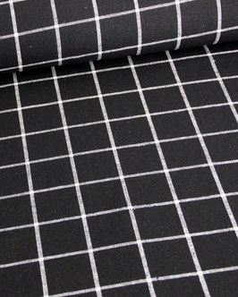 Baumwollstoff schwarz, mit weißen Gitternetzlinien, Robert Kaufmann