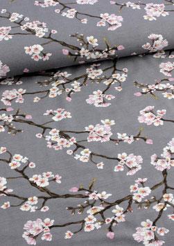 Viskosejersey Blossom, grau