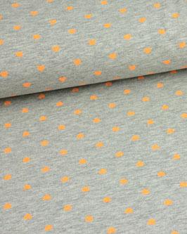 Baumwolljersey graumeliert mit Neonherzen orange