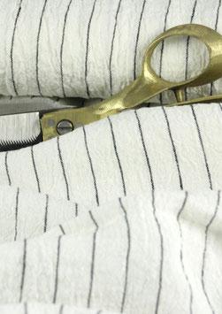 Gecreppter Leinen offwhite, mit Nadelstreifen