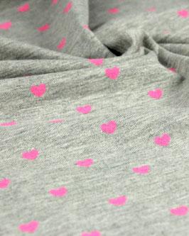 Baumwolljersey graumeliert mit Neonherzen pink
