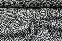 Wollgemisch Fischgrät schwarz/weiß