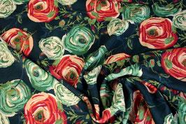 Viskosestoff dunkelblau mit großen Blumen von AGF, woodlands fusion navy