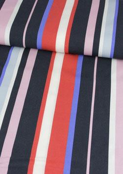 Tencel mit Längsstreifen rot/dunkelblau/rose