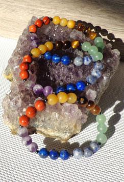 Pierres chakras, bracelet élastique
