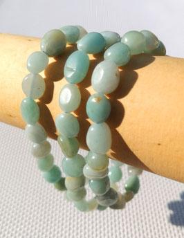Amazonite (Pérou) AB, bracelets élastiques perles roulées
