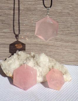 "Quartz rose, pendentifs ""sceau de Salomon"""