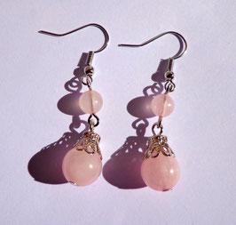 Quartz rose, boucles 2 perles