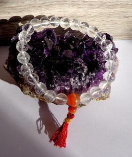 Cristal de roche (Inde) et cornaline, bracelet Yoga (élastique)
