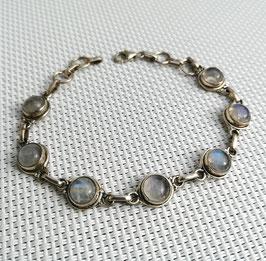 Pierre de lune, bracelet chaîne