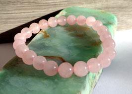 Quartz rose, bracelet élastique 8 mm