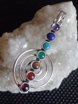 Pierres chakras, pendentif spirale