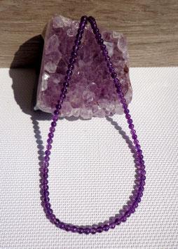 Améthyste, collier perles 4 mm