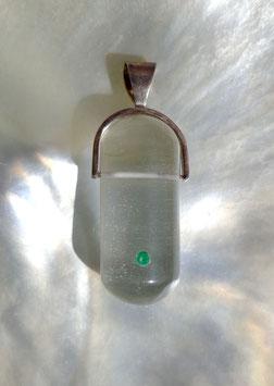 Cristal de roche et émeraude, pendentif