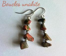 Unakite, boucles baroques argent