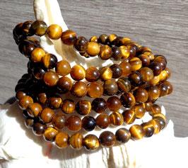 Oeil de tigre, bracelet élastique (perles 6 mm)