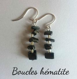 Hématite, boucles baroques argent 925