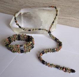 Unakite et hématite aimantée, collier magnétique
