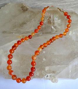 Cornaline, collier perles rondes