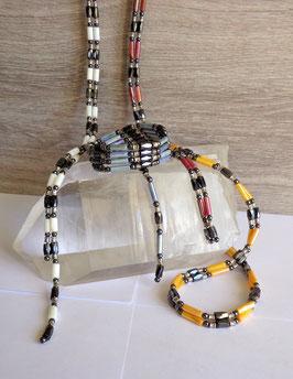 Nacre teintée, collier magnétique