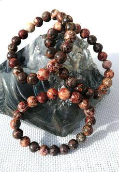 Jaspe léopard, bracelets élastiques perles 8 mm