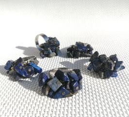 Lapis-lazuli, bagues ajustables métal