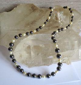 Hématite et perles, sautoir perles dégradées