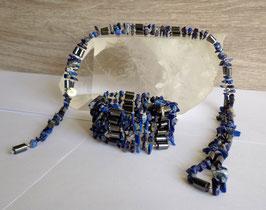 Lapis-lazuli et hématite aimantée, collier magnétique
