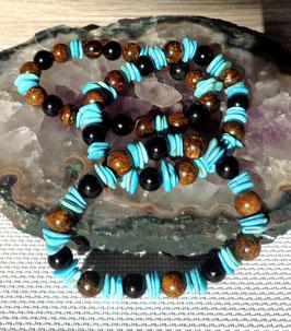 Turquoise, obsidienne oeil céleste et bronzite, bracelet élastique