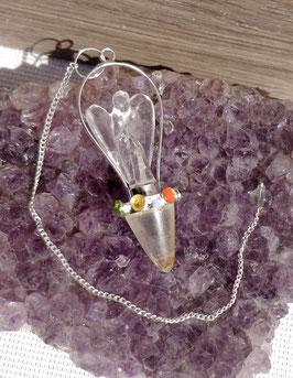 Cristal de roche et pierres chakras, pendule ange