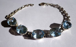 Topaze bleue facettée, bracelet argent 925